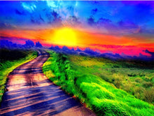 Load image into Gallery viewer, Green Highway & Sunset Diamond Painting
