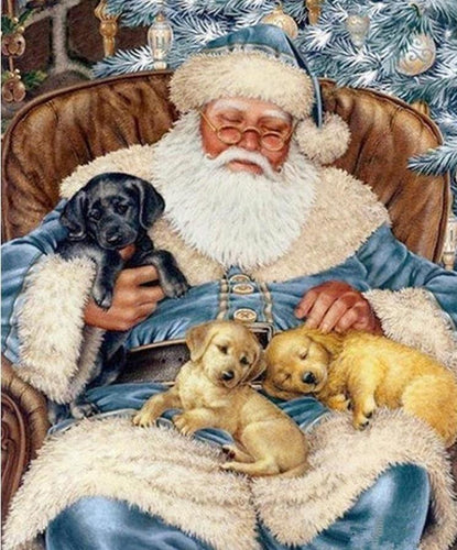 Santa with Cute Puppies Diamond Painting