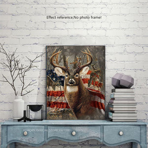 Deer with American Flag Diamond Painting