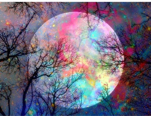 Colorful Moon diamond painting DIY kit