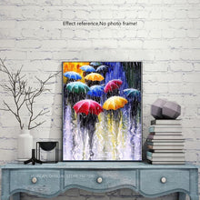 Load image into Gallery viewer, Walking in the Rain with Colorful Umbrellas