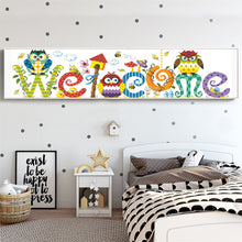 Load image into Gallery viewer, Colorful Welcome Sign with Cute Owls Painting with Diamonds