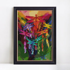 Beautiful Colorful Dragonflies - Painting by Diamonds