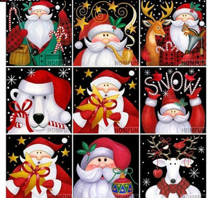 Christmas Gift Card Paintings with Round Diamonds kit