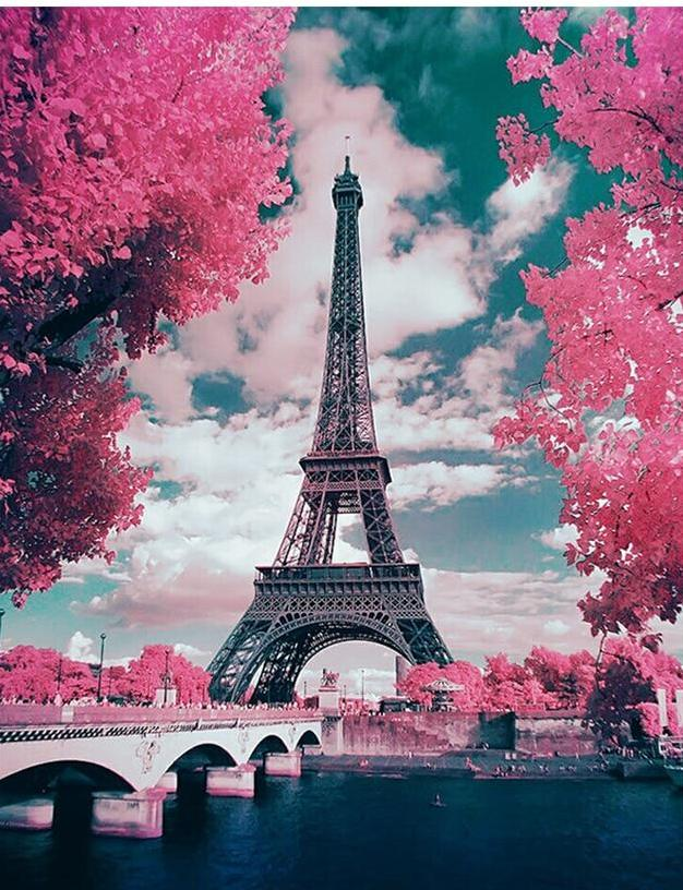 Eiffel Tower Covered in Pink Plants
