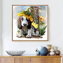 Load image into Gallery viewer, Dog & Flowers Painting - DIY with Diamonds