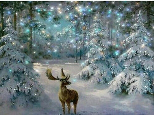Deer in the Woods Christmas Painting