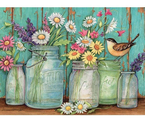 Beautiful Flower Jars  & Sparrow Diamond Painting