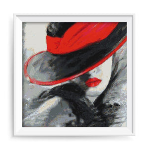 Woman With Red Hat Diamond Painting