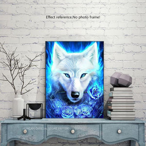 Blue Fire Ice Wolf