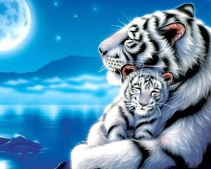 White Tiger Hugging the Cub