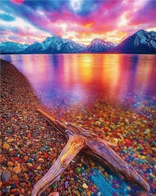 Lake View with Clear Water & Colorful Stones