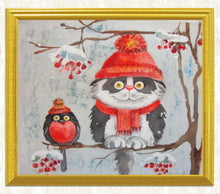 Load image into Gallery viewer, Cartoon Cat & Bird Painting with Diamonds