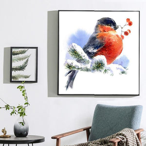 Sweet Bird in Snow Diamond Art Kit