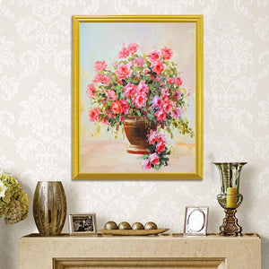 Pink Roses in Golden Vase DIY Painting