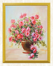 Load image into Gallery viewer, Pink Roses in Golden Vase DIY Painting