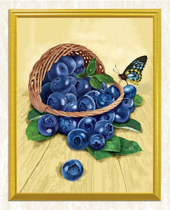 Blueberries & Butterfly - Paint by Diamonds
