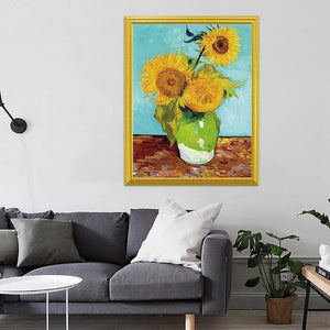 Three Sunflowers in a Vase