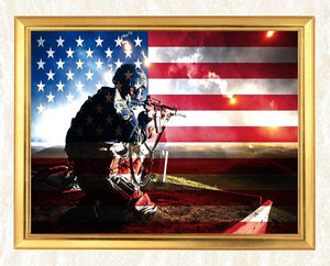 Soldier Behind USA Flag