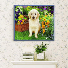 Load image into Gallery viewer, Cute Dog & Flowers Basket