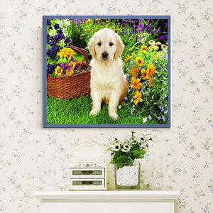 Cute Dog & Flowers Basket