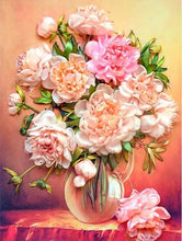 Load image into Gallery viewer, Lovely Peonies in Glass Vase