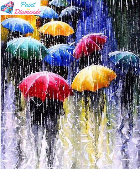 Rain and Umbrellas diamond painting
