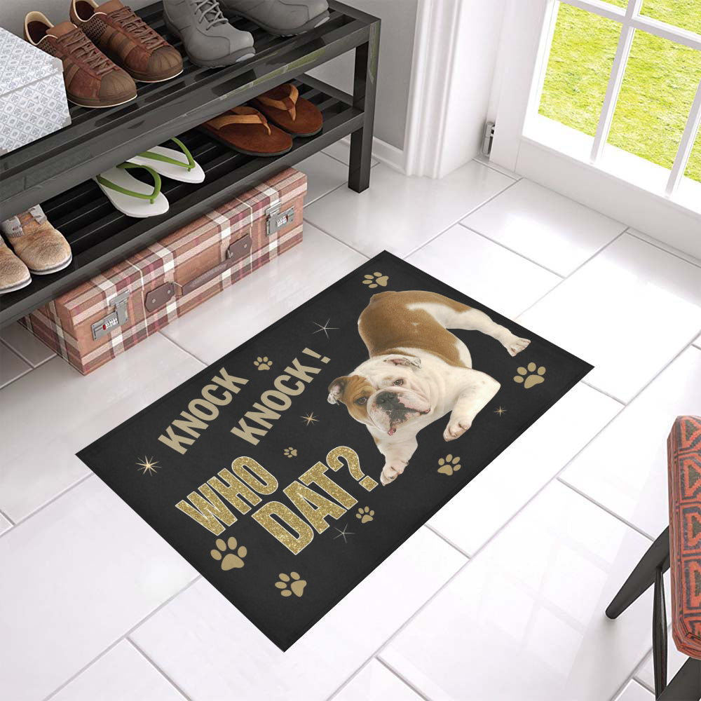 Qhn 10 Knock Who Dat Bulldog Door Mats 24 x 16