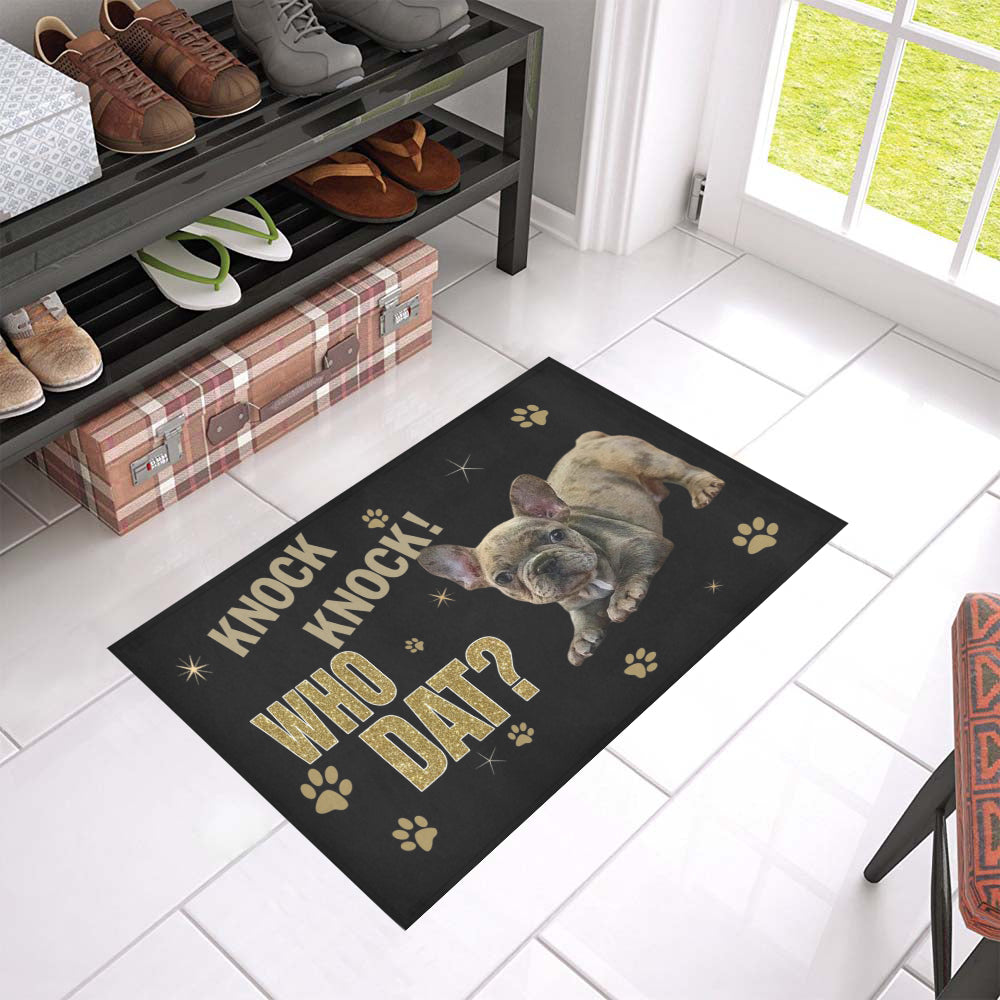 Qhn 10 Knock Who Dat French Bulldog Door Mats 24 x 16