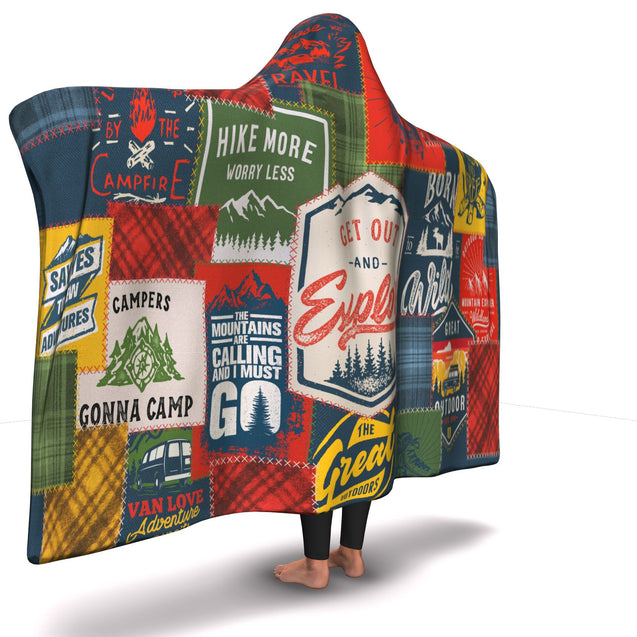 Hooded Blanket  Camping Patchwork #1
