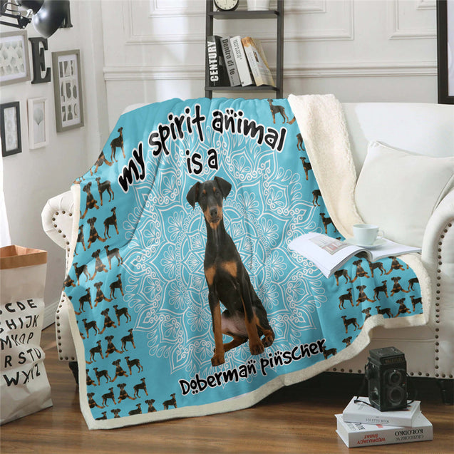 TD Doberman Pinscher Is My Spirit Animal Blanket