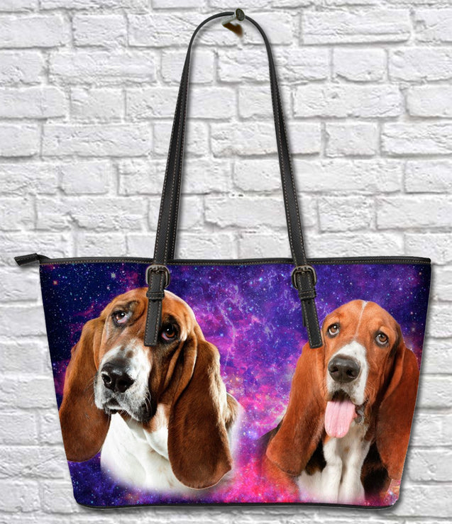 TD 1 Basset Hound Galaxy Leather Tote Bag