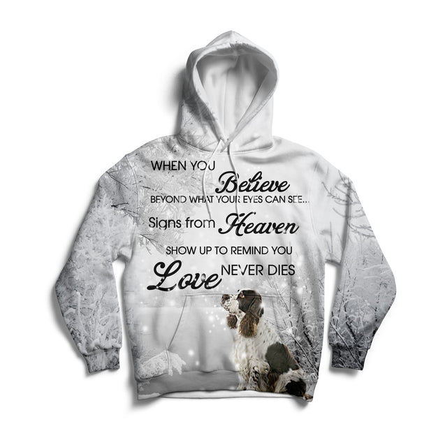 Ln  1 english springer spaniel love never dies 3d hoodie
