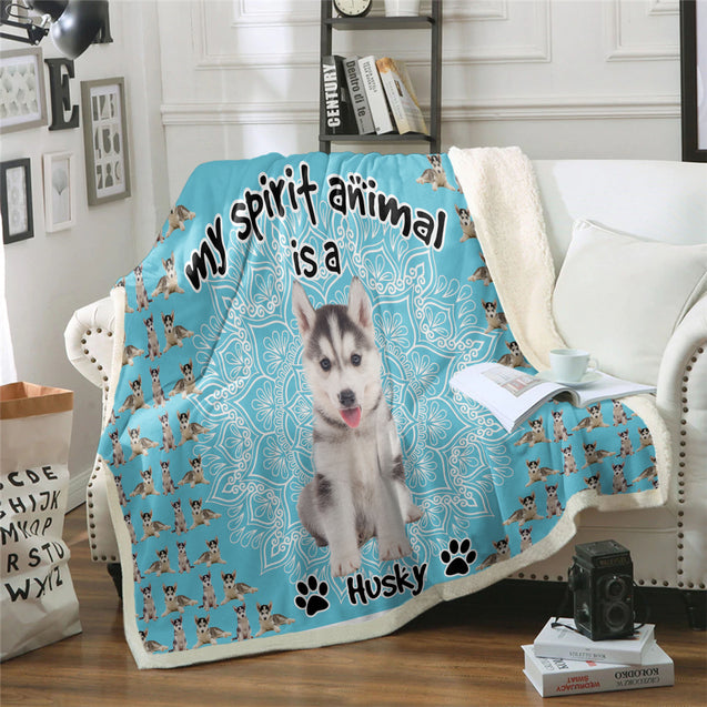TD Siberian Husky Is My Spirit Animal Blanket