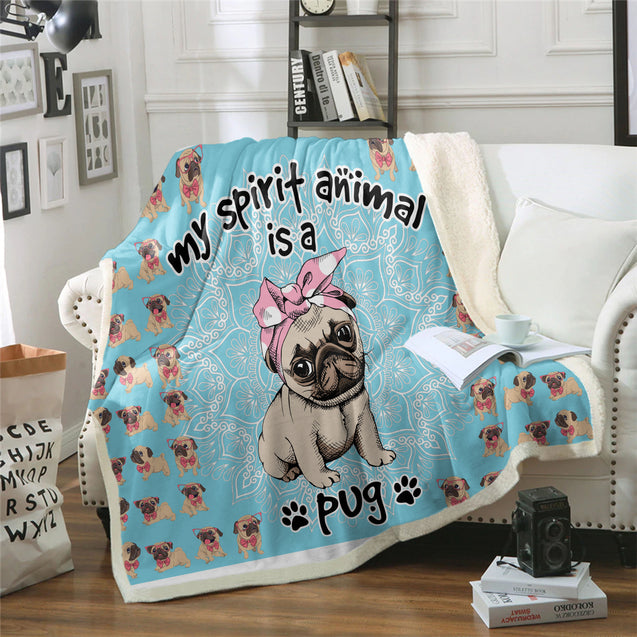TD Pug Is My Spirit Animal Blanket