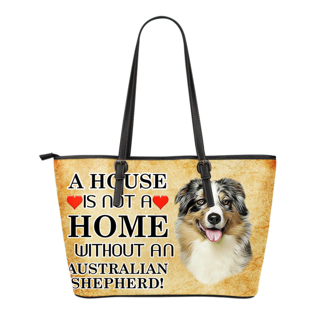 nh australian shepherd home small leather tote bag