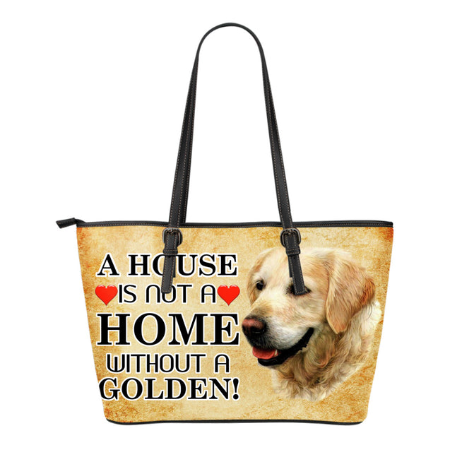 nh golden retriever home small leather tote bag