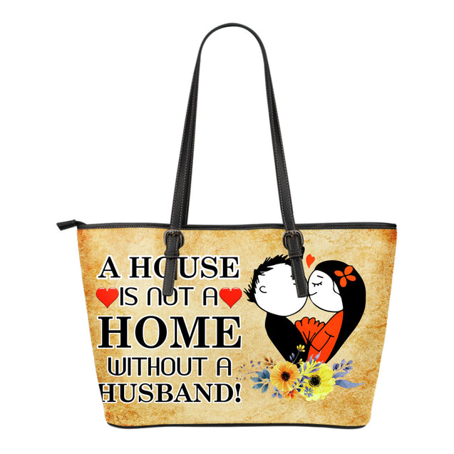 nh husband home small leather tote bag
