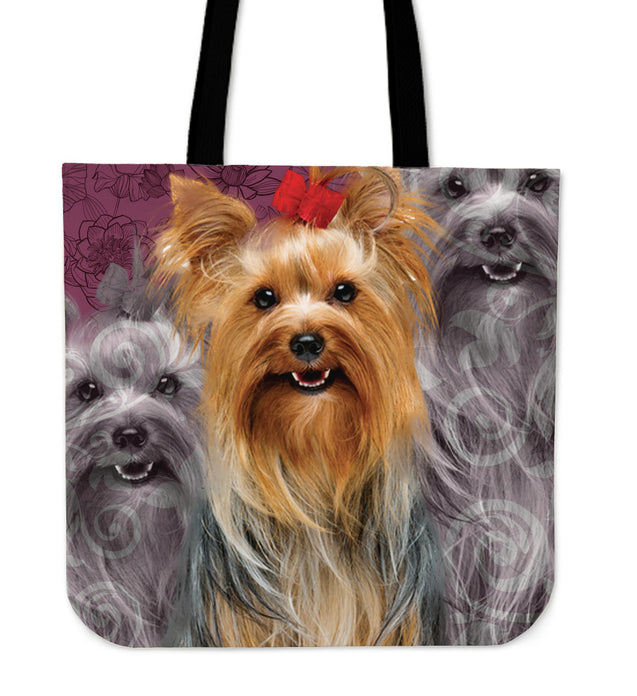 Mt 3 Back White And Color Yorkshire Terrier Tote Bag