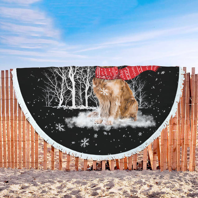 Golden Retriever Enjoys The Snow Beach Blanket