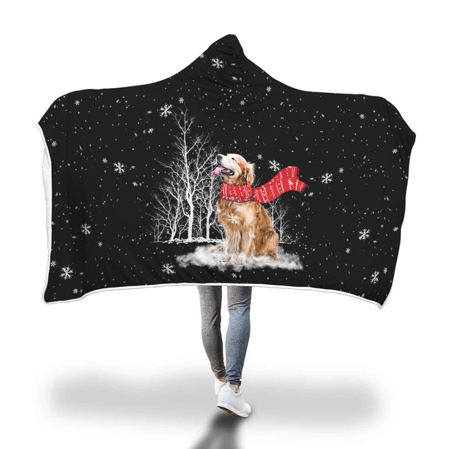 Golden Retriever Enjoys The Snow Hooded Blanket