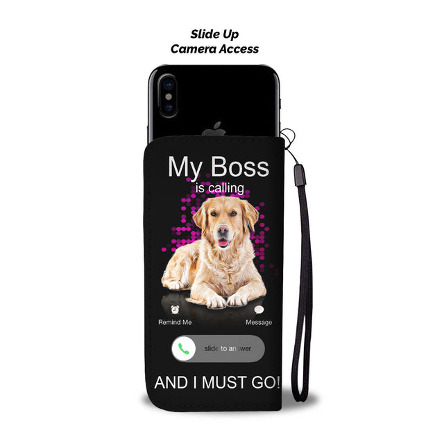 TR My Golden Retriever Is Calling Wallet Case