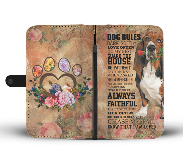 TR My Faithful Basset Hound Dog Wallet Case