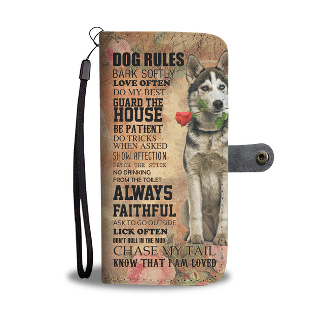 TR My Faithful Siberian Husky Dog Wallet Case