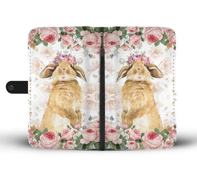 Ln 1 rabbit pink flower wallet case