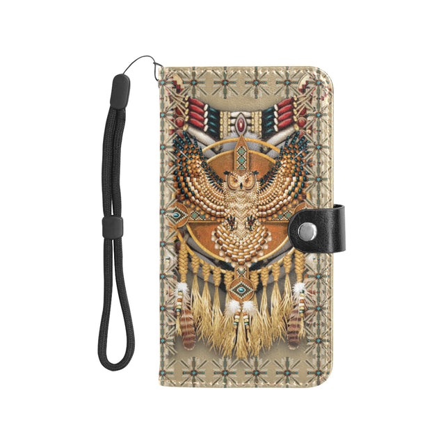 SHN 10 Gold owl Native American Wallet case (Large)