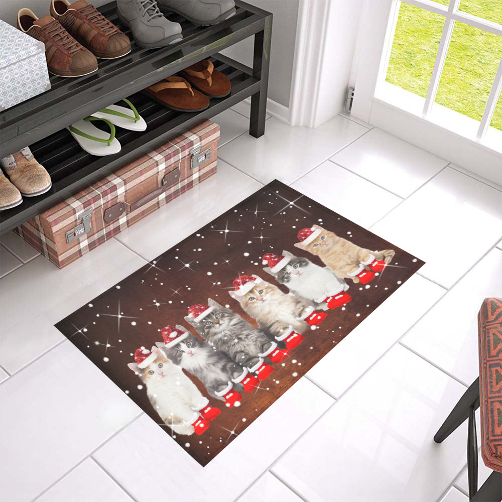 Qhn 7 Merry Christmas Cat Door Mats 24 x 16