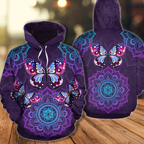TH 2 Butterfly Purple Mandala Hoodie