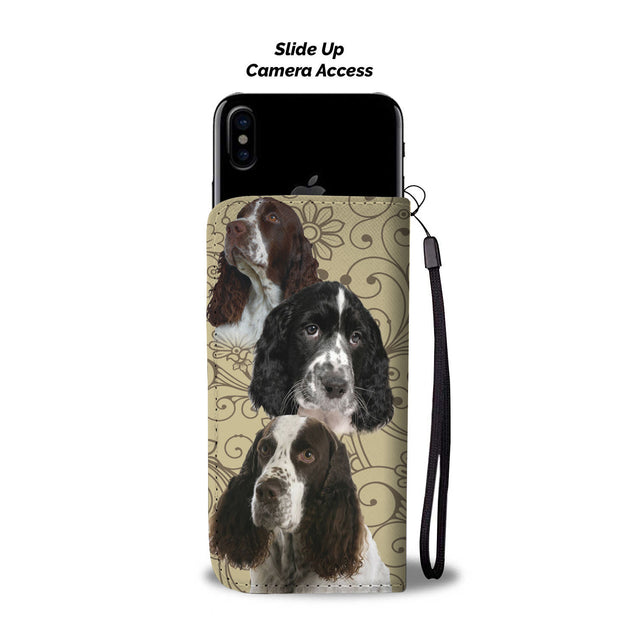 ln english springer spaniel pattern wallet case