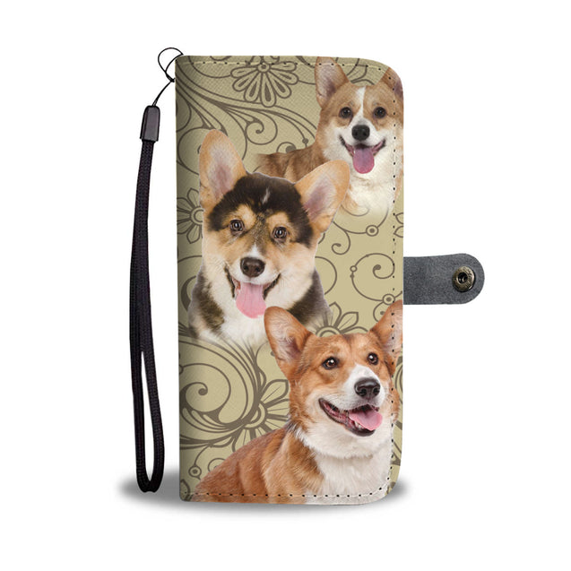 ln corgi pattern wallet case